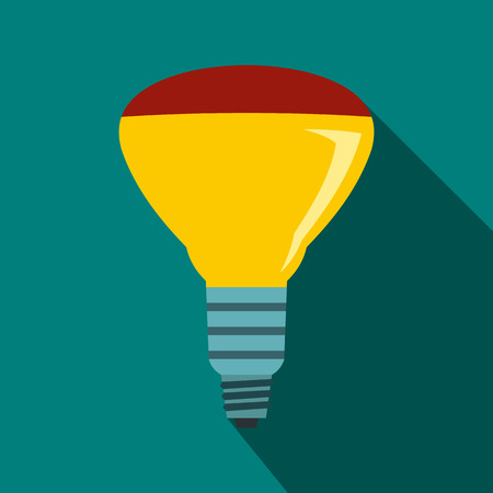 led bulb: LED bulb icon in flat style on a blue background