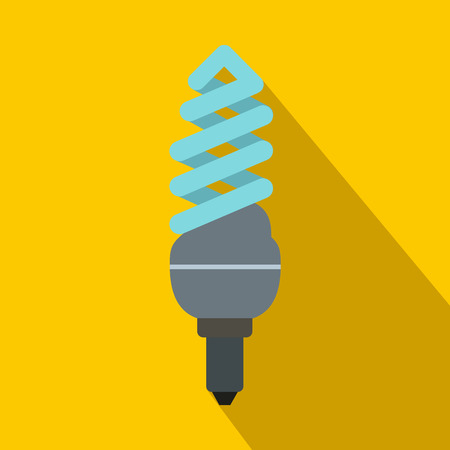 compact fluorescent lightbulb: Fluorescent lamp icon in flat style on a yellow background