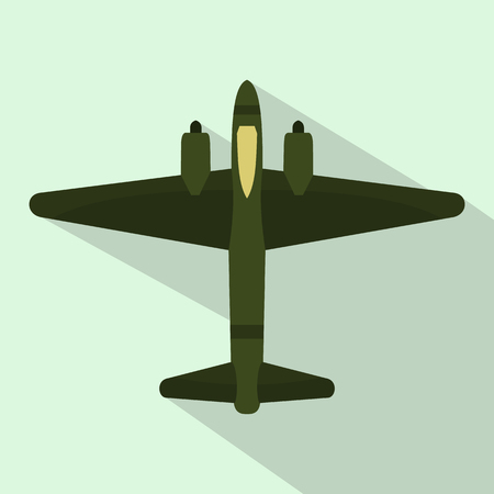 pilot cockpit: Military fighter jet icon in flat style on a light blue background Illustration
