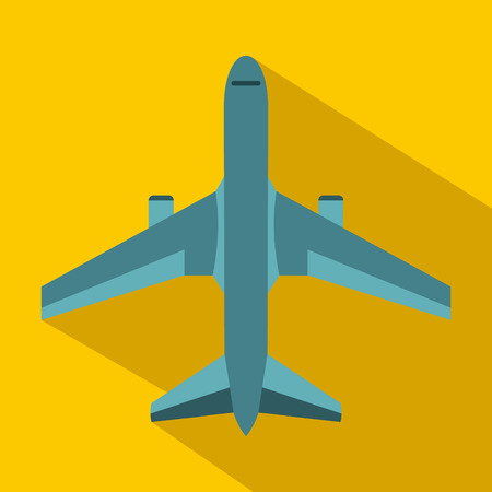 fighter jet: Military fighter jet icon in flat style on a yellow background