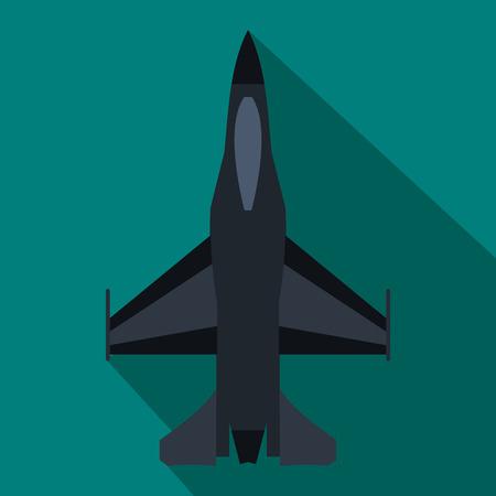 Fighter icône jet dans un style à plat sur un fond bleu
