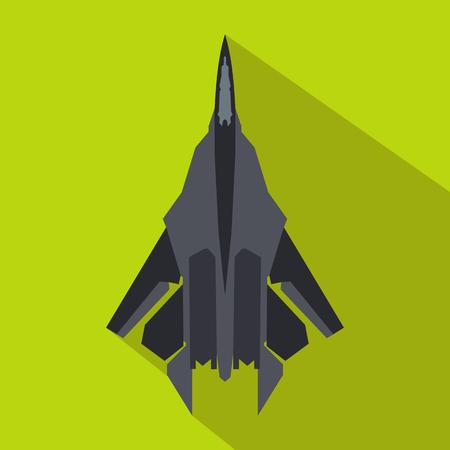 緑の背景にフラット スタイルでジェット戦闘機アイコン