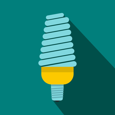 compact fluorescent lightbulb: Energy saving bulb icon in flat style on a blue background