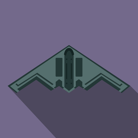 bomber: Stealth bomber icon in flat style on a violet background