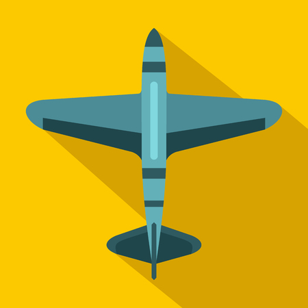 pilot cockpit: Military fighter jet icon in flat style on a yellow background