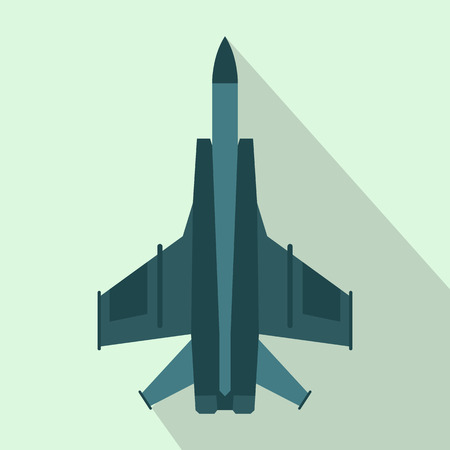 aeronautics: Fighter jet icon in flat style on a light blue background