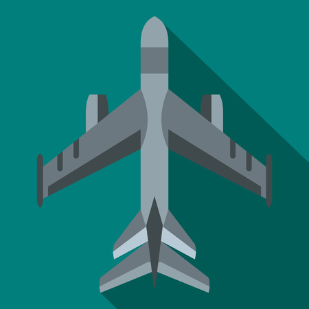 fighter jet: Military fighter jet icon in flat style on a blue background Illustration