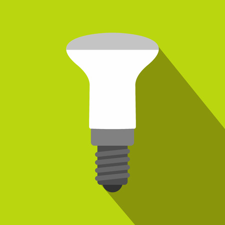 led: LED bulb icon in flat style on a green background