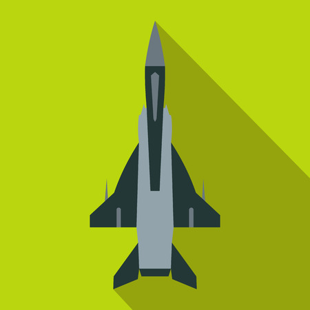 aeronautics: Fighter jet icon in flat style on a green background