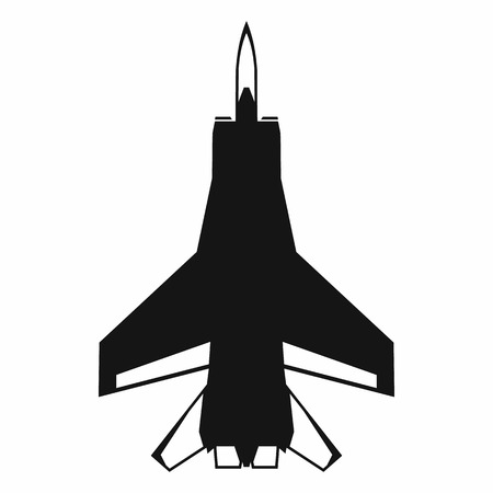 cockpit: Fighter jet icon in simple style on a white background