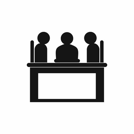 discussion: Businessmen sitting at the table. Negotiations, discussion icon in simple style isolated on white background