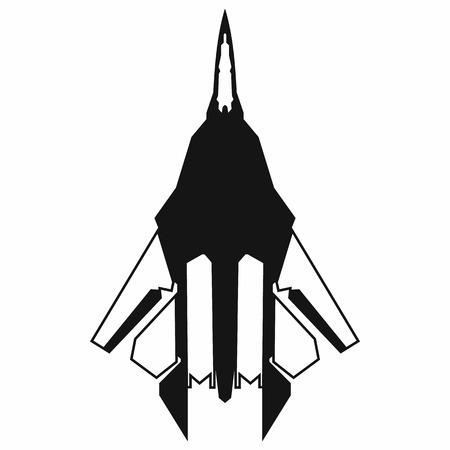 白地にシンプルなスタイルでジェット戦闘機アイコン  イラスト・ベクター素材