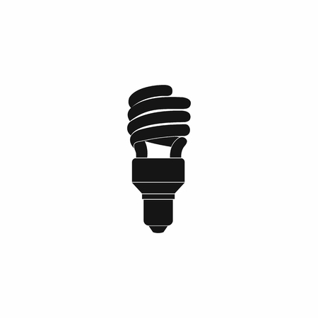 compact fluorescent lightbulb: Energy saving bulb icon in simple style on a white background