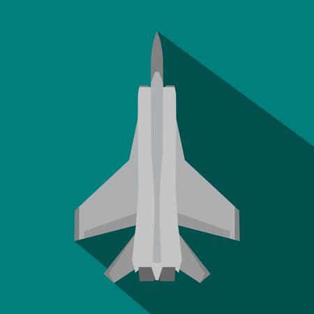 aeronautics: Fighter jet icon in flat style on a blue background Illustration