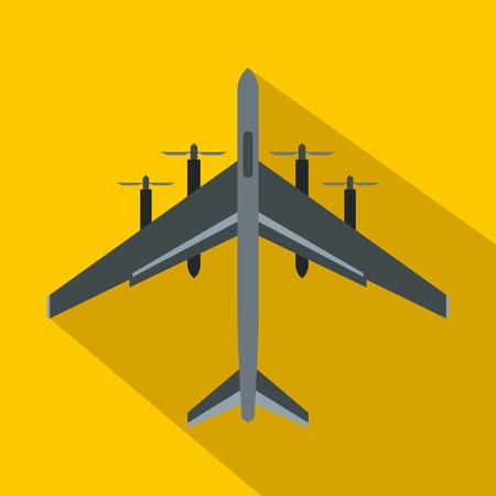 黄色の背景にフラット スタイルの戦闘機飛行機アイコン