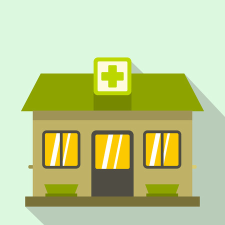 public health services: Hospital building icon in flat style on a light blue background