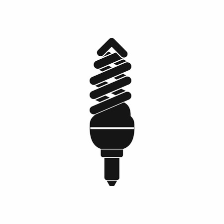 compact fluorescent lightbulb: Fluorescent lamp icon in simple style on a white background