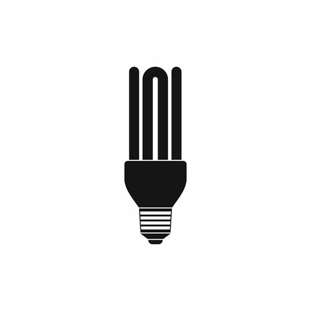 kilowatt: Fluorescent lamp icon in simple style on a white background