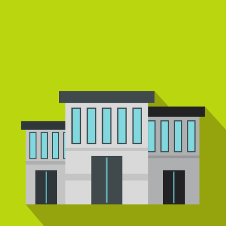 precinct station: Police building icon in flat style on a green background