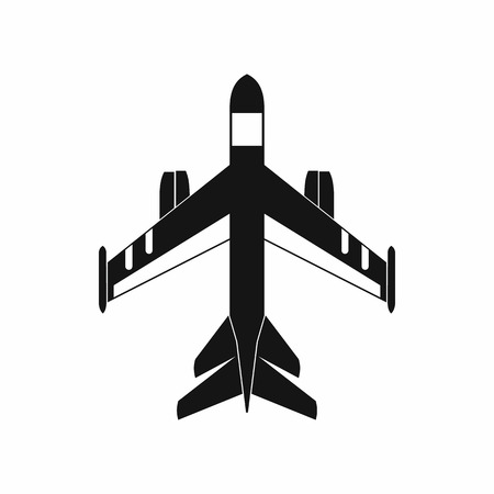aeronautics: Military fighter jet icon in simple style on a white background Illustration