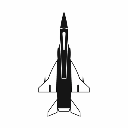 aeronautics: Fighter jet icon in simple style on a white background