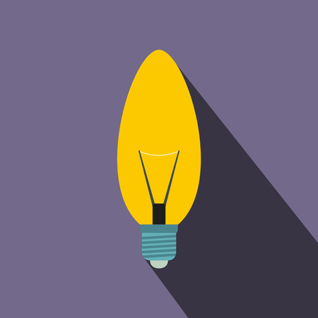 oval shape: Oval shape light bulb icon in flat style on a violet background