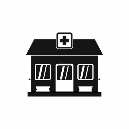 public health services: Hospital building icon in simple style on a white background Illustration