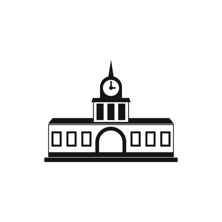 view window: Railway station building icon in simple style on a white background