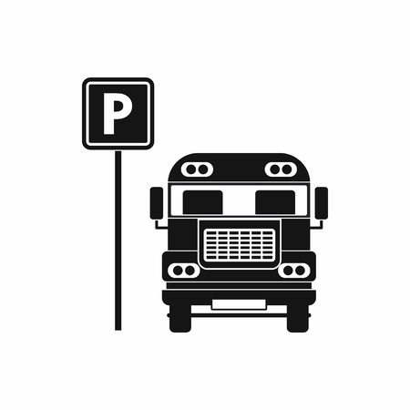 bus parking: Parking sign and bus icon in simple style on a white background Illustration
