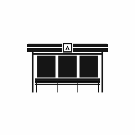 stop icon: Bus station icon in simple style on a white background Illustration