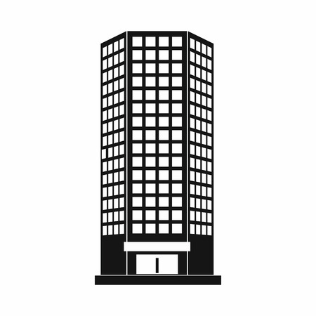 office building: Modern office building icon in simple style on a white background