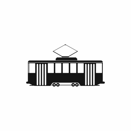 streetcar: Tram icon in simple style on a white background