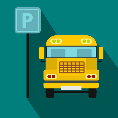 bus parking: Parking sign and yellow bus icon in flat style on a blue background