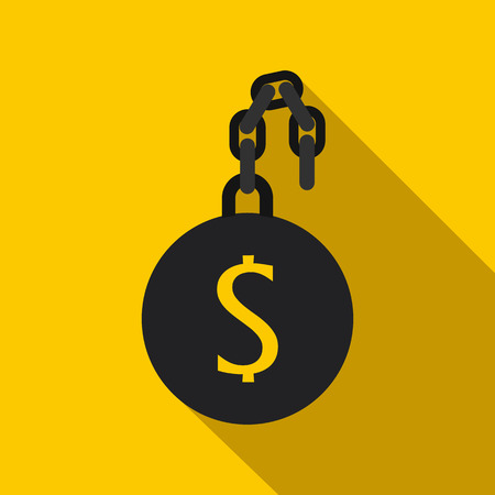 slave: Money slave icon in flat style on a yellow background