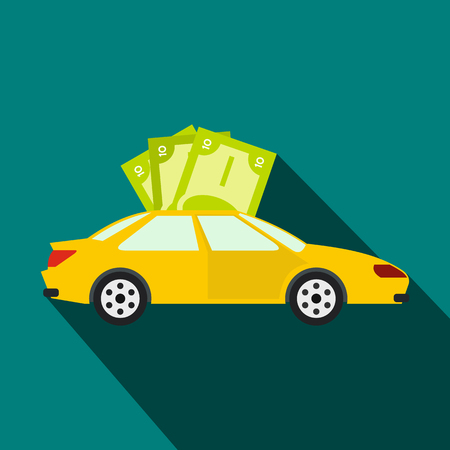 economic interest: Car and banknotes icon in flat style on a blue background Illustration