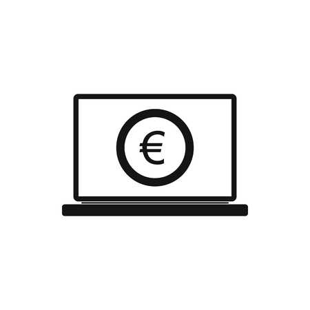 laptop screen: Laptop screen with the euro sign icon in simple style on a white background Illustration