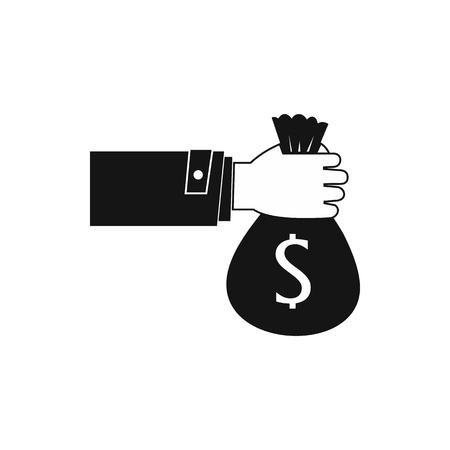 Hand holding money bag icon in simple style on a white background