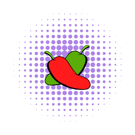 capsaicin: Hot chili peppers icon in comics style on a white background