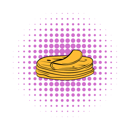 pita bread: Stack of tortillas icon in comics style on a white background Illustration