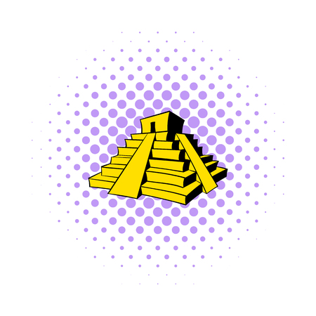 antiquities: Mayan pyramid icon in comics style on a white background