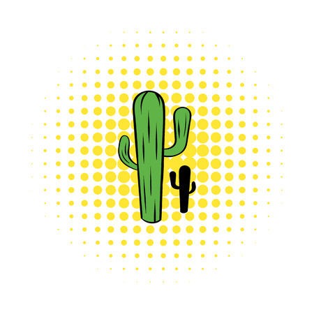 arid: Cactus icon in comics style on a white background