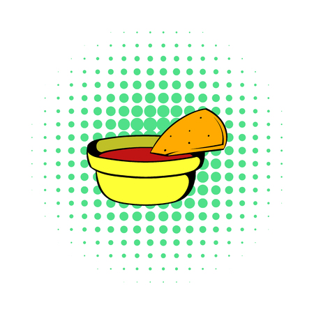 chips and salsa: Pepper sauce with pita bread icon in comics style on a white background Illustration