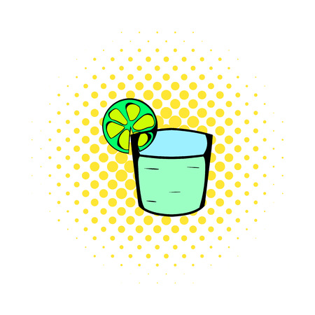 highball: Tequila in a glass with lime icon in comics style on a white background