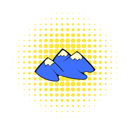 rockies: Mountain icon in comics style on a white background Illustration
