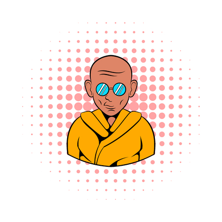 wanderer: Indian monk in saffron color clothing and sunglasses icon in comics style on a white background Illustration
