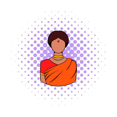 saree: Indian woman in traditional Indian sari icon in comics style on a white background