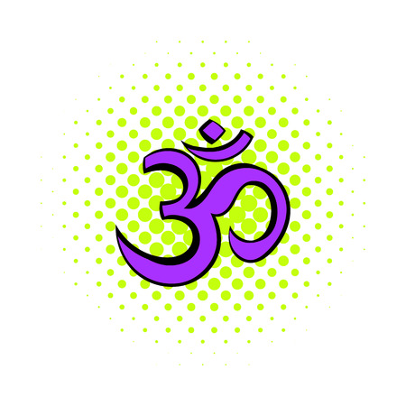 ohm symbol: Hindu om symbol icon in comics style on a white background Illustration