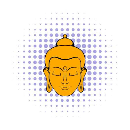 Head of Buddha icon in comics style on a white background Illustration