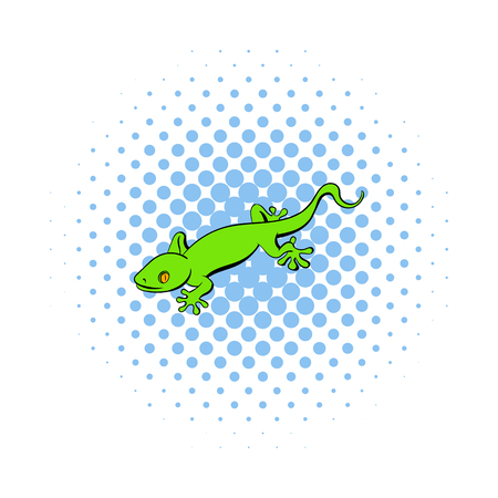 crawling creature: Green gecko lizard icon in comics style on a white background