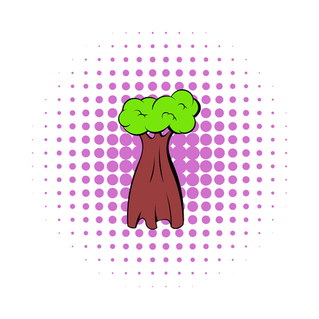 baobab tree: Baobab tree icon in comics style on a white background